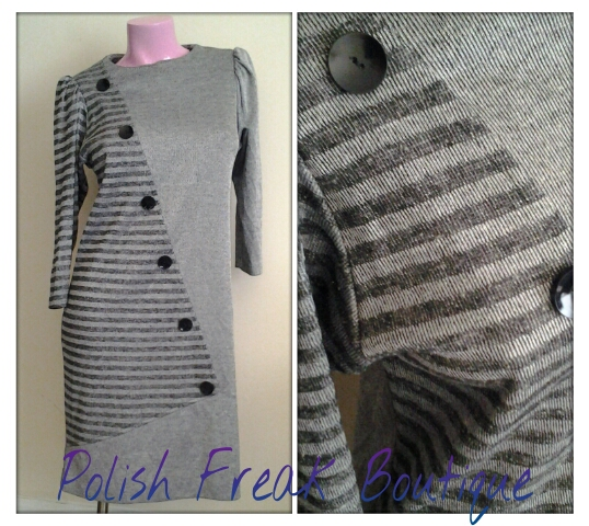 black grey button shift dress